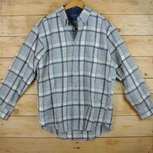 Pendleton Gray & Ivory Plaid 100% Wool Button Down